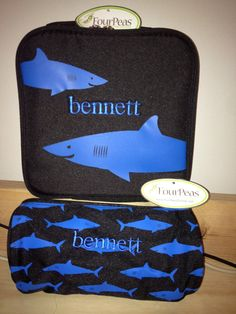 Lunch Bag  Shark  Four Peas  Personalized by FourPeasBags on Etsy