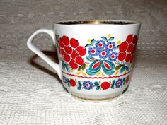 Large porcelain cup, made in the USSR. Bright cup in Ukrainian folk style. Big cup. Tea cup. Soviet porcelian. Folk painting.