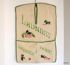 Vintage Laundry Bag: Scottie Dogs & Jadeite Green. $15.00, via Etsy.