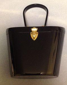 Vintage Black Wilardy Lucite Purse