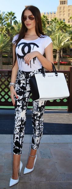 Black And White Streetstyle by Laura Badura Fashion ******* White Fashion, Love Fashion, Womens Fashion, Cool Outfits, Casual Outfits, Fashion Outfits, Street Chic, Street Style, Laura Badura