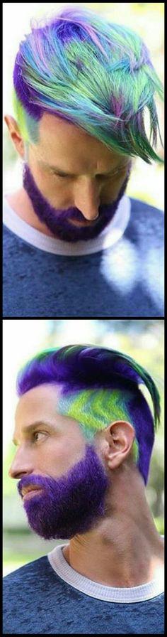 Neon purple dyed mens hair and beard @mermaidians