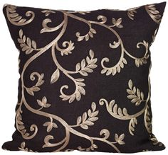 Lisette Black and Gold 18 Square Down Throw Pillow | 55DowningStreet.com  # stitches #afs