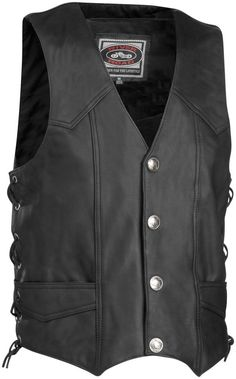 River Road Wyoming Nickel Street Riding Leather Motorcycle Vest