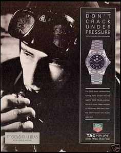 tag heuer all black men Tag Heuer, All Black Men, Watch Ad, Old Ads, Under Pressure, Vintage Watches, 1990s, Advertising, Sports