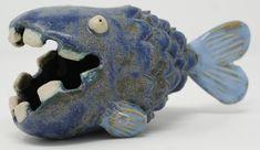 Ceramic Fish #sculpture #ceramics #fish #blue #uglyfish #cute #green #water #ocean #teeth Sculptures, Lion Sculpture, Ceramic Fish, Being Ugly, My Design, Shapes, Ceramics, Statue, Mugs