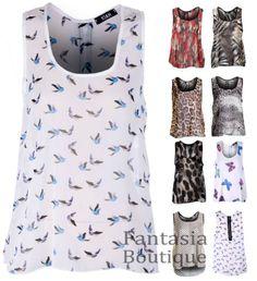 New Ladies Butterfly Bird Skull Animal Print Chiffon Sleeveless Top Blouse Women