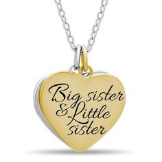 Sister Double Heart Necklace, 925 Silver, 14K Gold and Silver Plated Two Heart Necklace - TZARO Jewelry - 2