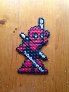 Deadpool Pixel Perler Bead Sprite Fridge Magnet by PixelatedPleasantry Melty Bead Patterns, Perler Patterns, Beading Patterns, Pearler Beads, Fuse Beads, Marvel Cross Stitch, Arte Nerd, Pixel Beads, Beading For Kids