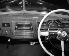 AWA radio in Plymouth car. Max Dupain photo, c 1951.