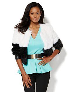 Colorblock Faux-Fur Jacket  - New York & Company