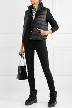 MONCLER cozy New Fanny shearling-lined calf hair and leather snow boots
