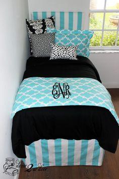 Tiffany & Black Quatrefoil Custom Designer Teen Girl & Dorm Room Bedding Set. Designer headboard, custom pillows, exclusive bed scarf, window panels, wall art, bed skirts, twin/queen/king duvet and custom monogramming!! Perfect for college, apartment, or teen bedding!! http://www.decor-2-ur-door.com/designer-dorm-bed-in-a-bag-sets/black-custom-bedding-sets-teen-girl-dorm-room-apartment-home-bed-in-a-bag/tiffany-blue-quatrefoil-custom-teen-girl-dorm-room-apartment-home-bedding-set?utm_content...