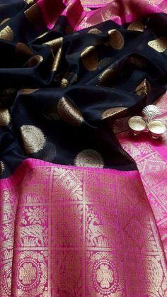 Love the rich colours Kanjivaram Sarees Silk, Indian Silk Sarees, Kanchipuram Saree, Soft Silk Sarees, Sari Design, Indian Colours, Organza Saree, Black Saree, Elegant Saree