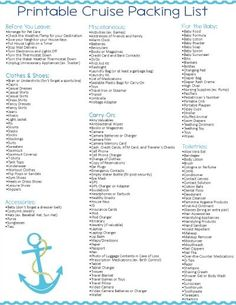 Printable Caribbean Cruise Packing List