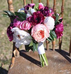 Vibrant Orchid Wedding Bouquet made with by Hollysflowershoppe