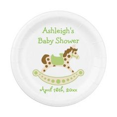 Green Rocking Horse Baby Shower 7 Inch Paper Plate