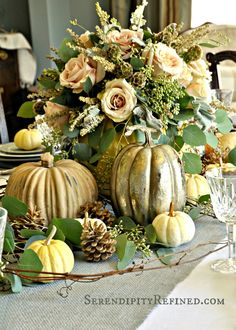 Serendipity Refined Blog: Rustic Gray and White (and Pink) Thanksgiving Table Decor