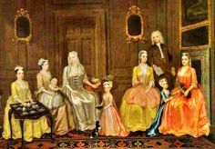 Charles Philips (British artist,  1703–1747) The Cromwell and Thornhill Families Taking Tea detail 1730