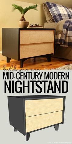 Free building plans and tutorial for a DIY mid-century modern nightstand, including how to make the legs, slanted drawer fronts, and DIY drawer slides. Basement Furniture, Mcm Furniture, Apartment Furniture, Diy Furniture Plans, Classic Furniture, Mid Century Modern Furniture, Furniture Storage, Rustic Furniture, Garden Furniture