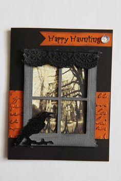 Sizzix Tim Holtz Window Die happy haunting Halloween card   Haunted house, black raven, lace curtain, #tizzyfitpapercrafts