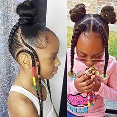 Little Girls Natural Hairstyles, Black Kids Hairstyles, Black Girl Braided Hairstyles, Children Braided Hairstyles, Two Braids Hairstyle Black Women, Little Girl Braids, Braids For Kids, Girls Braids, Kid Braids