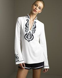 Tory Burch Embroidered Tunic & Drawstring Shorts -  Tunics -  Neiman Marcus