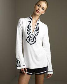 Tory Burch Embroidered Tunic & Drawstring Shorts- Tunics- Neiman Marcus