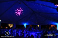 The Arbors Cleveland, NC  Blue uplighting and inside twinkle stars