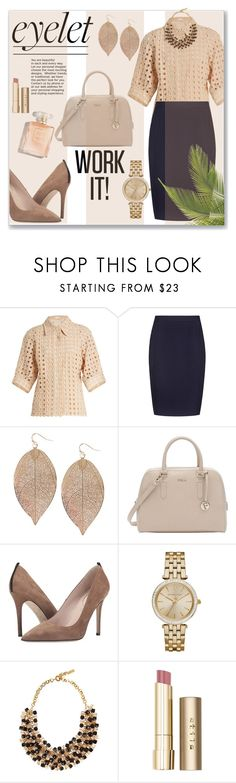 """""""Work Wear - Eyelet Beauty"""" by sonyastyle ❤ liked on Polyvore featuring Chloé, Reiss, Humble Chic, Furla, SJP, MICHAEL Michael Kors, Etro and Stila"""