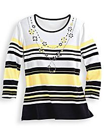 63bc44cca12 City Life Striped Knit Top by Alfred Dunner Alfred Dunner
