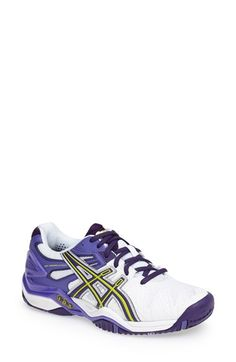 ASICS®+'GEL-Resolution+5'+Tennis+Shoe+(Women)+available+at+#Nordstrom Asics Women, Court Shoes, Blue And White, Black, Designer Shoes, Hot Pink, Tennis, Nordstrom, Sporty