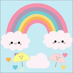 Rainbow Donut, Rainbow Cartoon, Rainbow Background, Cartoon Background, Cartoon Cupcakes, Minnie Mouse Birthday Decorations, Rainbow Painting, Unicorn Birthday Parties, Kawaii Cute