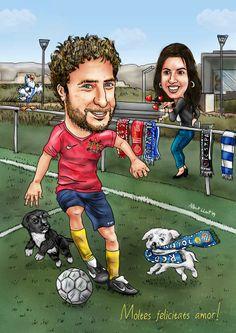 Novia Caricatura, Caricatura Para, Equipos Preferidos, Su Regalo, Futbolista, Para Regalos, Bufandas, Quieres, Mascotas