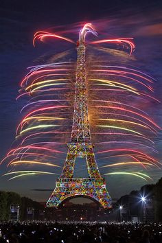 Eiffel Tower with fireworks.