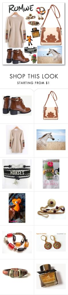 """Romwe horses"" by nanitas23 ❤ liked on Polyvore featuring Sarah Coventry and Burberry"