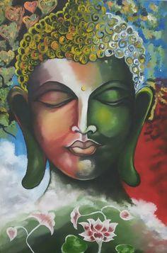 Buddha Wall Art, Buddha Decor, Buddha Painting, Virgin Mary Art, Gautama Buddha, Ancient Art, Wall Art Decor, Cool Art, Vibrant