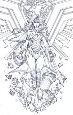 Drawing Superhero Wonder Woman by Paolo Pantalena - Wonder Woman Kunst, Wonder Woman Drawing, Wonder Woman Art, Wonder Women, Wonder Woman Tattoos, Wonder Woman Comic, Adult Coloring Book Pages, Colouring Pages, Coloring Books