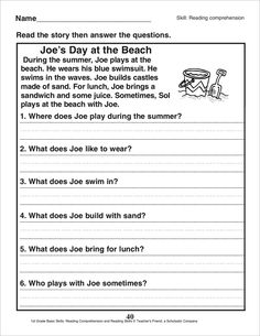 First Grade Reading Comprehension, Picture Comprehension, Reading Comprehension Worksheets, 2nd Grade Reading, Reading Fluency, Reading Skills, Teaching Reading, Teaching English Grammar, English Grammar Worksheets