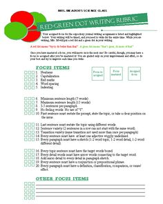 Red-green writing rubric - Whole Brain Teaching for middle schoolers