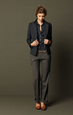 business. work chic. grey + black + tan shoes -- nice.