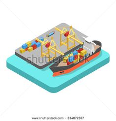 Flat 3d isometric nautical transport cargo shipping harbor dock port concept web infographics vector illustration. Container ship barge loading crane marine transportation.