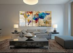 World Map Canvas Art Print Large Wall Art by ExtraLargeWallArt