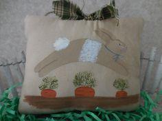 Primitive Hand Painted Bunny Folk Art Spring by auntiemeowsprims