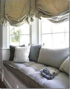 Love this window seat.reading in the rain. It is my dream to have a window seat in my bedroom one day Bay Window Curtains, Window Seat Cushions, Window Benches, Bench Cushions, Tufted Bench, Burlap Curtains, Bay Window Seats, Bay Window Decor, Balloon Curtains