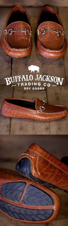 The Laramie: 100% North American Bison leather horsebit driving loafer. The casual mens shoe for the rugged gentleman. Also available in black walnut. (Shown here in brown.)