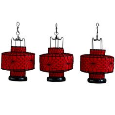 Chinese Wire and Canvas Red Circular Lanterns #ChristmasGift