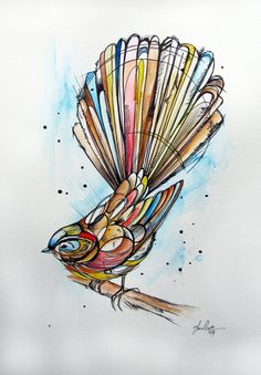 This was part of a series that was commissioned. Each of the New Zealand birds in this set is done in an inked 'tattoo' style.  Various outline thickness has been used to create depth. This one is mostly in neutral/realistic colours with a splash of brighter colours. All the backgrounds are similar with a blue blur and a few hashes.