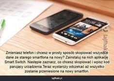 Jak przenieść dane ze starego telefonu na nowy? - Zmieniasz telefon i chcesz w prosty sposób skopiować wszystkie dane ze starego smartfona na nowy? Zainstaluj na nich aplikację Smart Switch. Następie zaznacz, co chcesz skopiować i wpisz kod parujący urządzenia.Teraz wystarczy odczekać aż wszystko zostanie przeniesione na nowy smartfon. Good To Know, Hacks, Soda, Education, Phone, Diy, Laptop, Beverage, Telephone