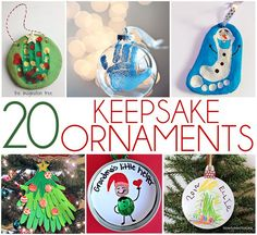 20 KEEPSAKE ORNAMENTS kids can make. Fun and festive ornaments that will be cherished forever.